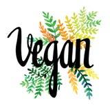 Carte de voeux avec des fleurs watercolor Peinture de main inscription vegan Image libre de droits