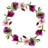 Carte de voeux avec des magnolias, aquarelle faite main Peuvent être employés comme invitation pour un mariage, l'anniversaire et Photos libres de droits