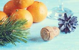 Carte de voeux avec des oranges et des décorations de Noël photos libres de droits