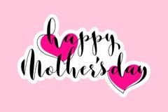 Carte de voeux avec deux coeurs et lettrage heureux de jour de mères Photo libre de droits