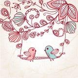 Carte de voeux avec deux oiseaux sur l'arbre Photographie stock