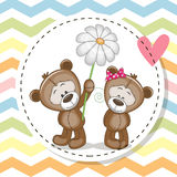 Carte de voeux avec deux Teddy Bears Photographie stock libre de droits