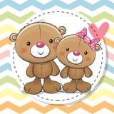 Carte de voeux avec deux Teddy Bears mignon Photographie stock