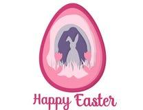 Carte de voeux avec Joyeuses Pâques Lapin oriental Art de papier d'oeuf de pâques Images stock