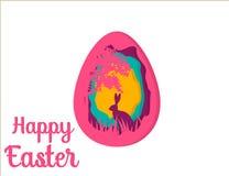 Carte de voeux avec Joyeuses Pâques Lapin oriental Art de papier d'oeuf de pâques Photo stock
