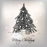 Carte de voeux avec l'arbre de Noël Photographie stock libre de droits