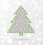Carte de voeux avec l'arbre de Noël fait de bijoux Image stock