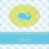Carte de voeux avec l'espace de copie et la baleine bleue Photo libre de droits