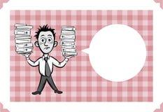 Carte de voeux avec l'homme d'affaires tenant des reliures de document illustration libre de droits