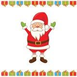 carte de voeux avec la bande dessinée Santa Claus Vecteur Photos stock