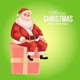 Carte de voeux avec la bande dessinée Santa Claus s'asseyant sur une boîte Photo libre de droits