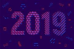 Carte de voeux avec la bonne année 2019 d'inscription pour vos insectes de disposition et carte de voeux illustration de vecteur