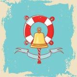 Carte de voeux avec la cloche de bateau et bouée de sauvetage dans le style de griffonnage Photographie stock libre de droits