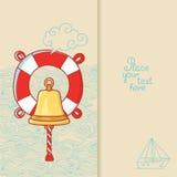 Carte de voeux avec la cloche de bateau et bouée de sauvetage dans le style de griffonnage Photo stock