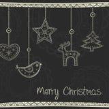 Carte de voeux avec la décoration d'arbre de Noël Photos stock