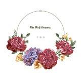 Carte de voeux avec la fleur rouge dans le jardin, illustration, label de cercle Images stock