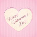 Carte de voeux avec la forme de coeur et le jour heureux du ` s de Valentine d'inscription photos stock