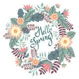 Carte de voeux avec la guirlande florale et bonjour lettrage impétueux de stylo de ressort illustration de vecteur