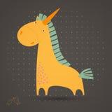 Carte de voeux avec la licorne mignonne Photo libre de droits