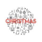 Carte de voeux avec la ligne mince Noël rouge de mot d'american national standard d'icônes grand Photos libres de droits