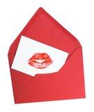 Carte de voeux avec le baiser de rouge à lèvres Images stock
