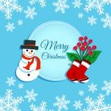 Carte de voeux avec le bonhomme de neige images stock