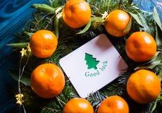 Carte de voeux avec le ` de bonne chance de ` de souhait entouré avec les mandarines fraîches et les branches impeccables avec de photo libre de droits