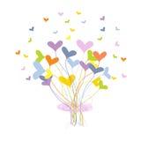 Carte de voeux avec le bouquet fait de coeurs Photographie stock