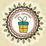 Carte de voeux avec le cadeau pour le Joyeux Noël Image libre de droits