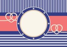 Carte de voeux avec le cadre et les cordes en forme de coeur Photo libre de droits