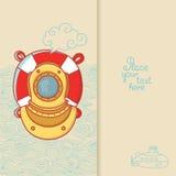 Carte de voeux avec le casque de plongée et bouée de sauvetage dans le style de griffonnage Photos libres de droits