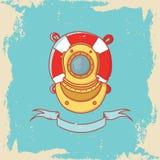 Carte de voeux avec le casque de plongée et bouée de sauvetage dans le style de griffonnage Photographie stock