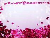 Carte de voeux avec le concept de vacances d'amour de jour du ` s de valentine de confettis Images libres de droits