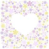 Carte de voeux avec le gisement de fleurs et la forme blanche du coeur pour le texte illustration stock