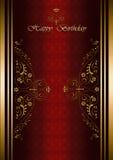Carte de voeux avec le joyeux anniversaire sur le fond vinicole modelé Photo stock