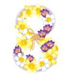 Carte de voeux avec le 8 mars, les jonquilles de fleurs et les crocus illustration stock