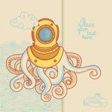 Carte de voeux avec le monstre de mer dans le casque de plongée Images stock