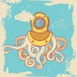 Carte de voeux avec le monstre de mer dans le casque de plongée Images libres de droits