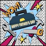 Carte de voeux avec le père et les outils Photos stock