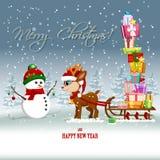 Carte de voeux avec le renne et le bonhomme de neige de bande dessinée Photo stock