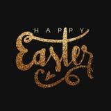 Carte de voeux avec le texte d'or pour la célébration de Pâques Image libre de droits