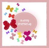 Carte de voeux avec les bouquets colorés des roses Photo libre de droits