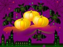 Carte de voeux avec les chauves-souris drôles célébrant Halloween Image libre de droits