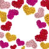 Carte de voeux avec les coeurs colorés Photo libre de droits
