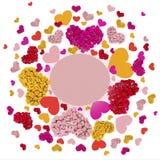 Carte de voeux avec les coeurs colorés Image libre de droits