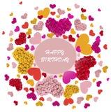 Carte de voeux avec les coeurs colorés Photos stock