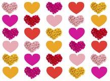 Carte de voeux avec les coeurs colorés Images libres de droits