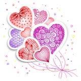 Carte de voeux avec les coeurs et les usines tirés pour le jour du ` s de Valentine, mariages, jour du ` s de mère Photographie stock libre de droits