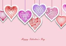 Carte de voeux avec les coeurs et les usines tirés pour le jour du ` s de Valentine, mariages, jour du ` s de mère Photo stock