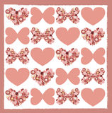 Carte de voeux avec les fleurs sèches sous la forme de papillon et de coeur Image libre de droits